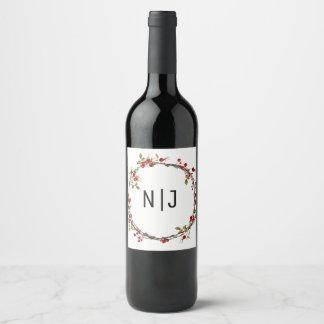 Etiqueta Para Botella De Vino Vino rústico de la guirnalda del día de fiesta de