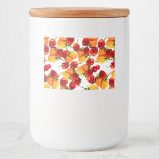 Etiqueta Para Comida Comida caliente anaranjada de las pimientas rojas
