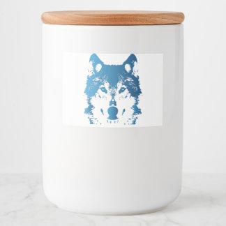 Etiqueta Para Comida Lobo de los azules claros del ilustracion