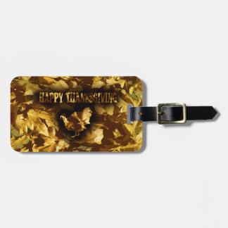 Etiqueta Para Maletas ACCIÓN DE GRACIAS FELIZ - hojas y Turquía de oro