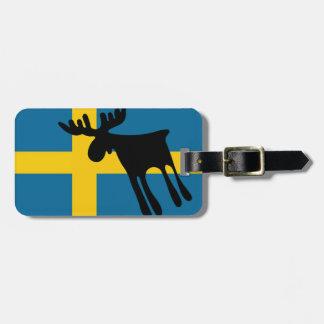 Etiqueta Para Maletas Älg / Moose med Svenska flaggan