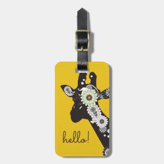 Etiqueta Para Maletas Amarillo animal divertido de la jirafa fresca