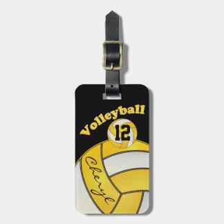 Etiqueta Para Maletas Amarillo y blanco con voleibol deportivo negro