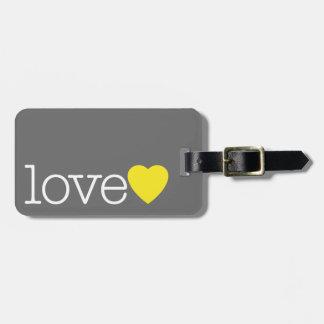 Etiqueta Para Maletas Ame con un corazón brillante y dirija/teléfono