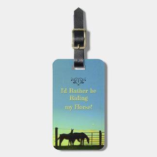 Etiqueta Para Maletas ¡Ame mi caballo! El montar. Puestas del sol.
