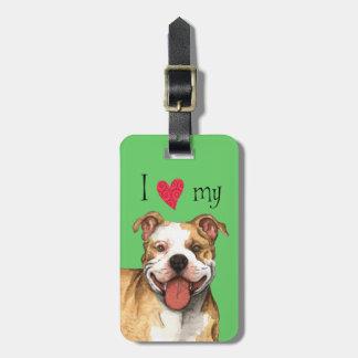 Etiqueta Para Maletas Amo mi pitbull Terrier
