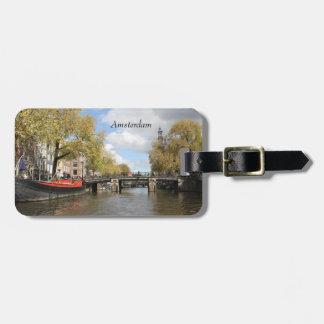 Etiqueta Para Maletas Amsterdam, canal, puente, casa flotante, chapitel