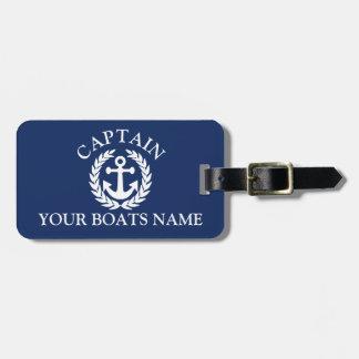 Etiqueta Para Maletas Ancla náutica de las naves del capitán del barco