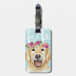 Etiqueta Para Maletas Animal feliz de la flor en Bosque-Perro-Perro