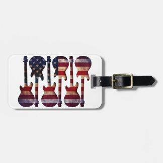Etiqueta Para Maletas Arte de la guitarra de la bandera americana