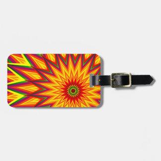 Etiqueta Para Maletas Arte floral abstracto colorido del girasol del