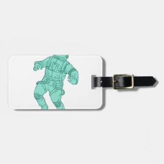 Etiqueta Para Maletas Astronauta que flota en el dibujo del espacio