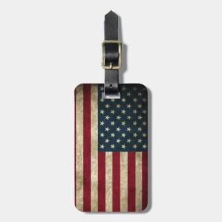 Etiqueta Para Maletas Bandera americana de los E.E.U.U. del Grunge