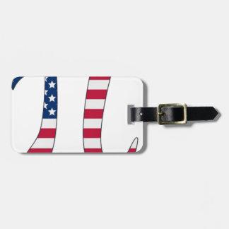 Etiqueta Para Maletas Bandera americana del día del pi, símbolo del pi