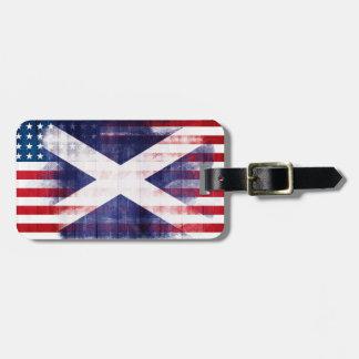 Etiqueta Para Maletas Bandera americana escocesa rústica