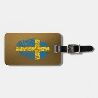Etiqueta Para Maletas Bandera de la huella dactilar del tacto del sueco