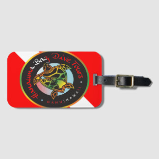 Etiqueta Para Maletas Bandera de la zambullida de la tortuga de Hawaii