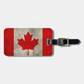 Etiqueta Para Maletas Bandera del Grunge del vintage de Canadá