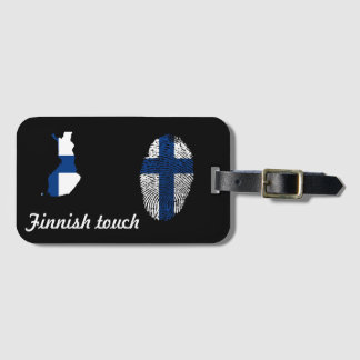 Etiqueta Para Maletas Bandera finlandesa de la huella dactilar del tacto