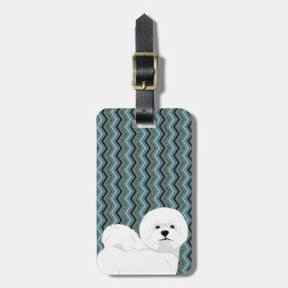 Etiqueta Para Maletas Bichon personalizado Frise - marina de guerra azul