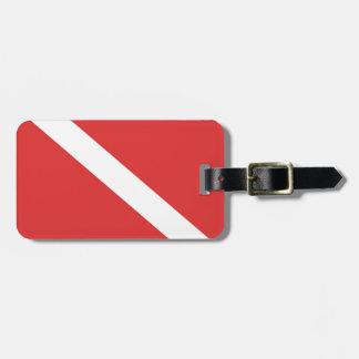 Etiqueta Para Maletas Blanco rojo del emblema CONOCIDO de los buceadores