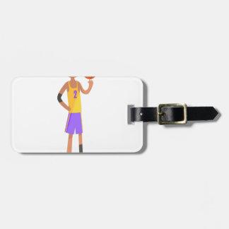 Etiqueta Para Maletas Bola de torneado del jugador de básquet en una