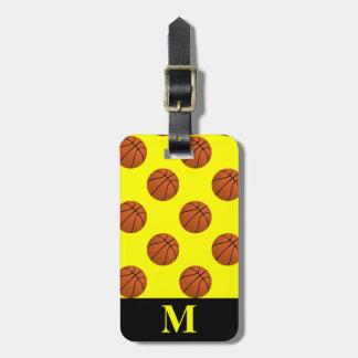 Etiqueta Para Maletas Bolas del baloncesto de Brown del monograma,