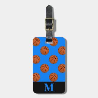 Etiqueta Para Maletas Bolas del baloncesto de Brown del monograma, azul