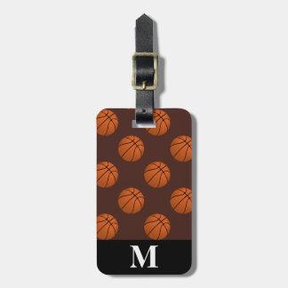Etiqueta Para Maletas Bolas del baloncesto de Brown del monograma, Brown