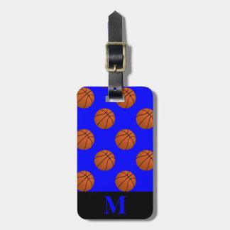 Etiqueta Para Maletas Bolas del baloncesto de Brown del monograma en