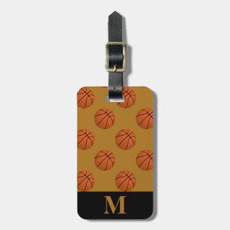 Etiqueta Para Maletas Bolas del baloncesto de Brown del monograma, oro