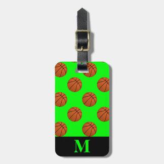 Etiqueta Para Maletas Bolas del baloncesto de Brown del monograma, verde