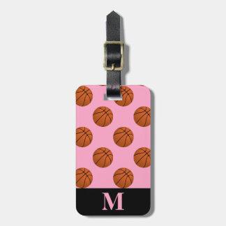 Etiqueta Para Maletas Bolas del baloncesto del monograma, rosa del