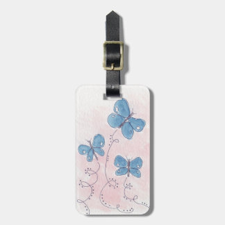 Etiqueta Para Maletas Bonito en mariposa azul rosada