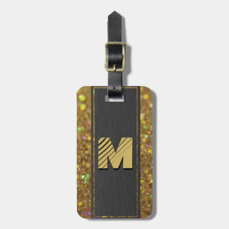 Etiqueta Para Maletas Brillo del oro del monograma