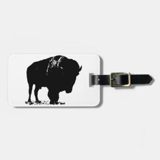 Etiqueta Para Maletas Búfalo negro y blanco del bisonte del arte pop
