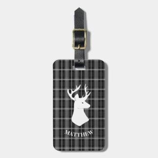 Etiqueta Para Maletas Cabeza del macho en la tela escocesa blanco y