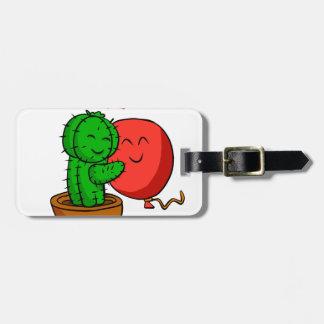 Etiqueta Para Maletas Cactus que abraza el globo