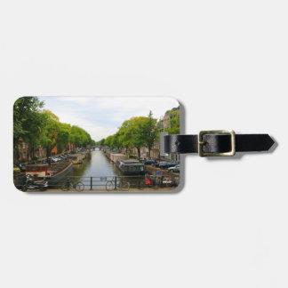 Etiqueta Para Maletas Canal, puentes, bicis, barcos, Amsterdam, Holanda