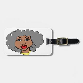 Etiqueta Para Maletas cara del negro de las mujeres mayores del dibujo