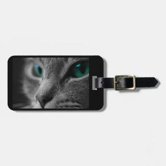 Etiqueta Para Maletas Cara gris del gato de la piel con los ojos verdes