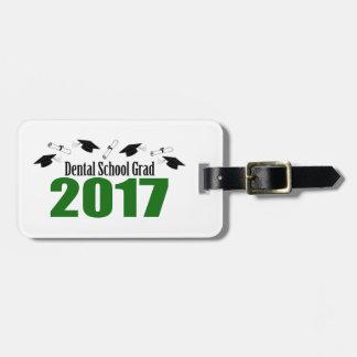 Etiqueta Para Maletas Casquillos y diplomas (verde) del graduado 2017