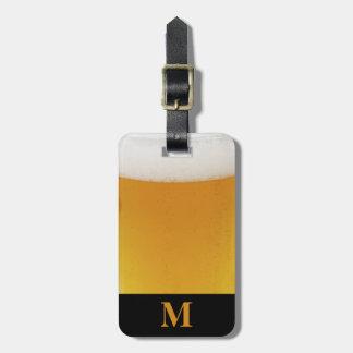 Etiqueta Para Maletas Cerveza del viaje del monograma con espuma