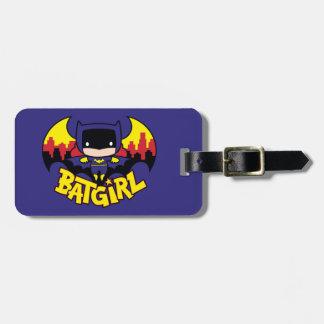 Etiqueta Para Maletas Chibi Batgirl con el horizonte y el logotipo de