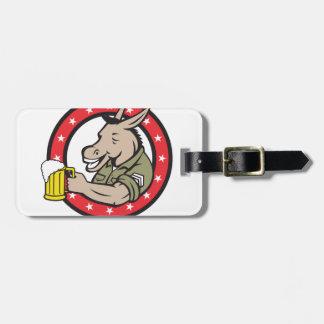 Etiqueta Para Maletas Círculo del bebedor de cerveza del burro retro