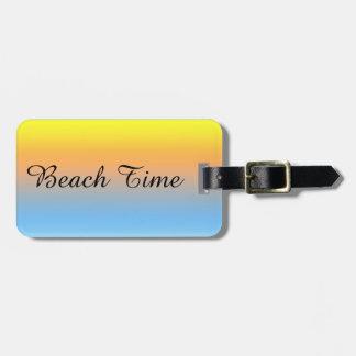 Etiqueta Para Maletas Colores de la playa de la puesta del sol con la