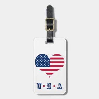 Etiqueta Para Maletas Corazón americano de los E.E.U.U. de la bandera de