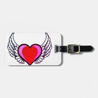 Etiqueta Para Maletas corazón con las alas