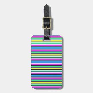 Etiqueta Para Maletas Correa rayada amarilla y rosada azul enrrollada