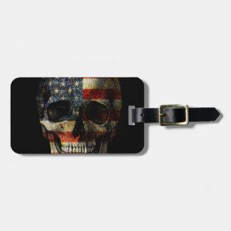 Etiqueta Para Maletas Cráneo de la bandera americana